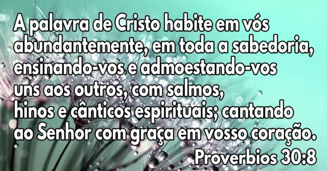 A palavra de Cristo habite em vós abundantemente, em toda a sabedoria, ensinando-vos e admoestando-vos uns aos outros