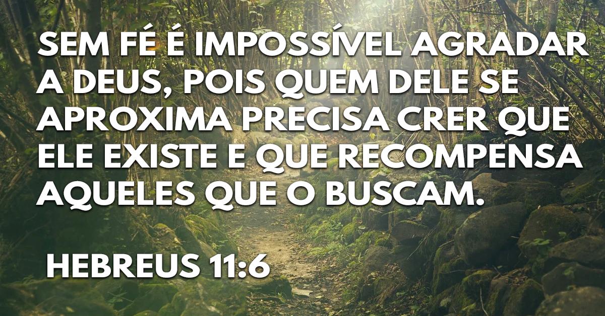 Sem fé é impossível agradar a Deus, pois quem dele se aproxima precisa crer que ele existe e que recompensa aqueles que o buscam